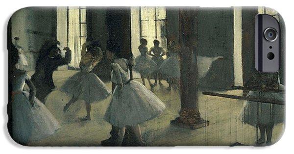 Ballet Dancers iPhone Cases - La Repetition au foyer de la danse iPhone Case by Edgar Degas