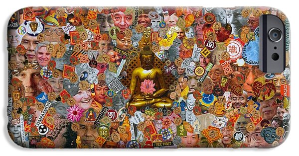 Tibetan Buddhism Mixed Media iPhone Cases - Lamps of Enlightenment iPhone Case by Peter Gumaer Ogden