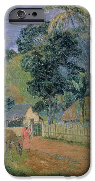 Animals iPhone Cases - Landscape iPhone Case by Paul Gauguin
