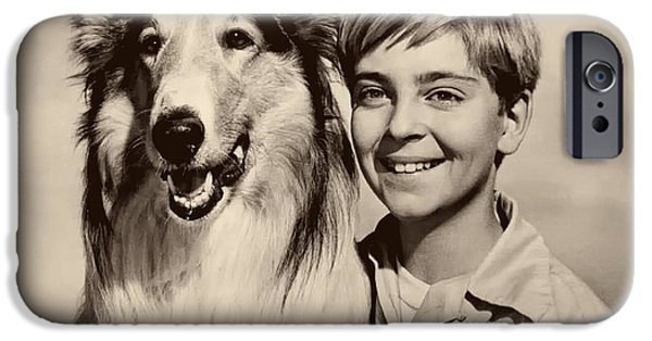 1950s Portraits iPhone Cases - Lassie and Tommy Rettig 1958 iPhone Case by Seattle Times