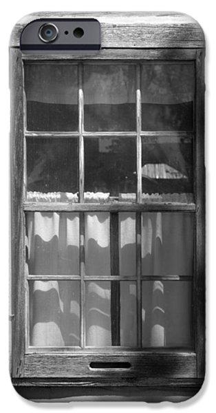 Interior Scene iPhone Cases - Lattice Window on Log Cabin iPhone Case by Donald  Erickson