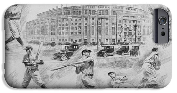 Baseball Stadiums Drawings iPhone Cases - Legend of Yankees iPhone Case by Mei  He