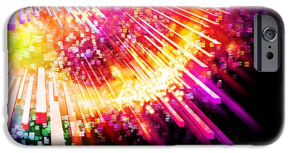 Abstract Movement Digital iPhone Cases - Lighting Explosion iPhone Case by Setsiri Silapasuwanchai