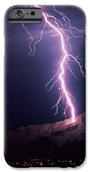 Electrical iPhone Cases - Lightning Over Tucson iPhone Case by Keith Kent