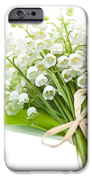 Flora iPhone Cases - Lily-of-the-valley bouquet iPhone Case by Elena Elisseeva