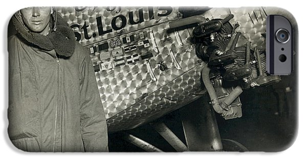 Technological iPhone Cases - Lindbergh With His Airplane, 1928 iPhone Case by Detlev Van Ravenswaay