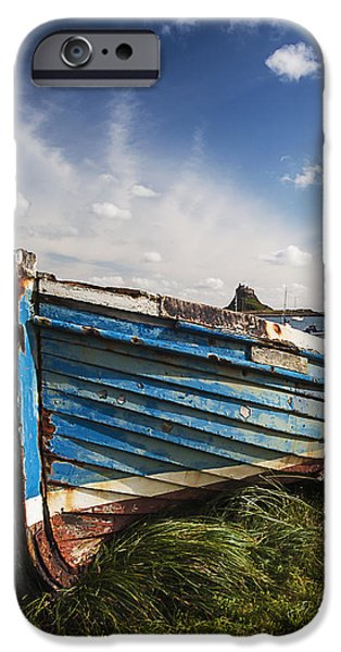 Sand Castles iPhone Cases - Lindisfarne boat. Portrait format. iPhone Case by Paul Cullen
