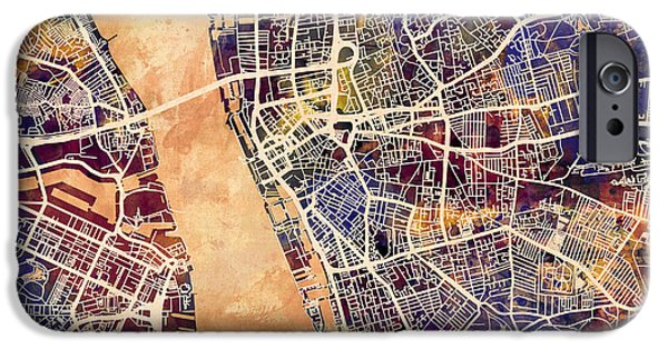 Abstract Watercolor iPhone Cases - Liverpool England Street Map iPhone Case by Michael Tompsett
