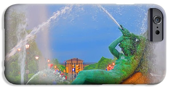 Franklin iPhone Cases - Logan Circle Fountain 1 iPhone Case by Bill Cannon