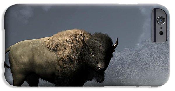Remington Digital iPhone Cases - Lonely Bison iPhone Case by Daniel Eskridge