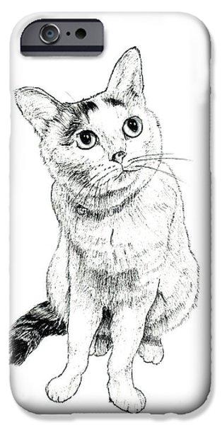 Kobe Drawings iPhone Cases - Looking Upward iPhone Case by Takahiro Yamada