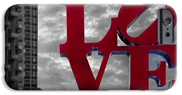 Signs iPhone Cases - Love Park BW iPhone Case by Susan Candelario