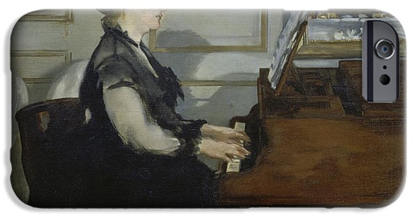 Piano iPhone Cases - Madame Manet iPhone Case by Edouard Manet