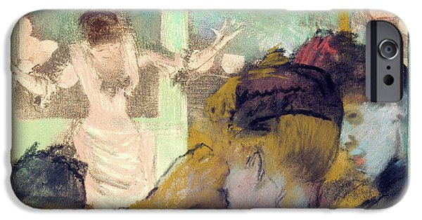 19th Century Pastels iPhone Cases - Mademoiselle Becat at the Cafe des Ambassadeurs iPhone Case by Edgar Degas