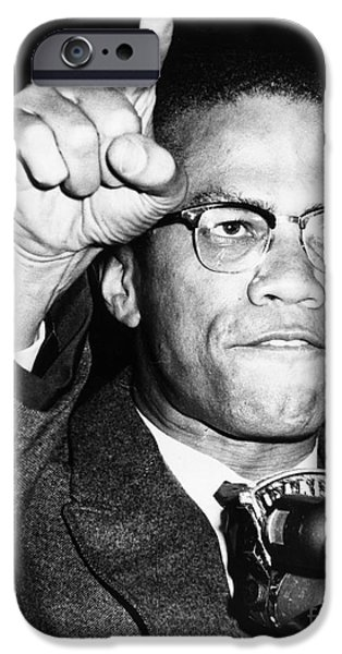 X-men iPhone Cases - Malcolm X (1925-1965) iPhone Case by Granger
