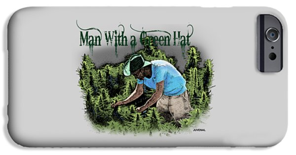 Mj Drawings iPhone Cases - Man with a Green Hat iPhone Case by Joseph Juvenal