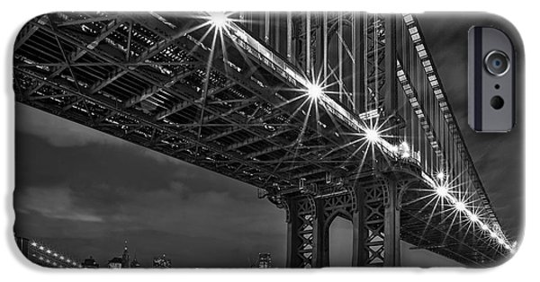 Freedom iPhone Cases - Manhattan Bridge Frames The Brooklyn Bridge iPhone Case by Susan Candelario