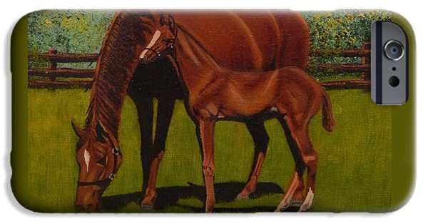 Young Paintings iPhone Cases - Mare and Foal Detail iPhone Case by Betty Compton