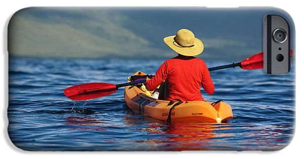 Adrenaline iPhone Cases - Maui Kayaker iPhone Case by Ron Dahlquist - Printscapes