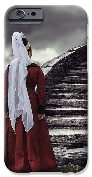 Stone Steps iPhone Cases - Medieval Woman iPhone Case by Amanda And Christopher Elwell