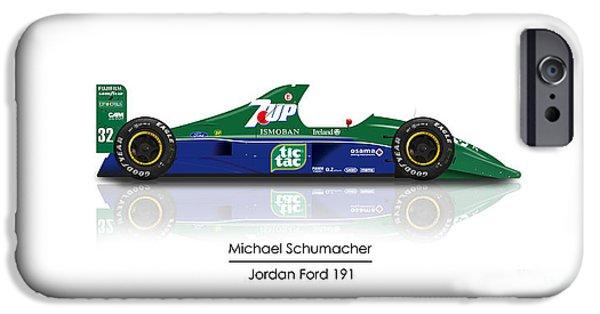 Michael Schumacher iPhone Cases - Michael Schumacher - Jordan 191 iPhone Case by Jeremy Owen