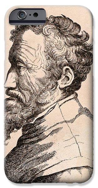 Michaelangelo iPhone Cases - Michelangelo Di Lodovico Buonarroti iPhone Case by Ken Welsh