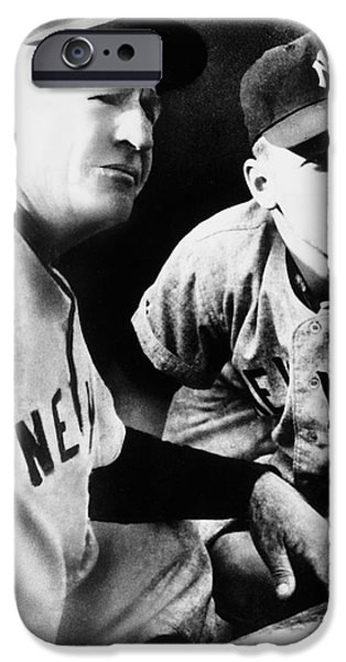 Manager iPhone Cases - Mickey Mantle (1931-1995) iPhone Case by Granger