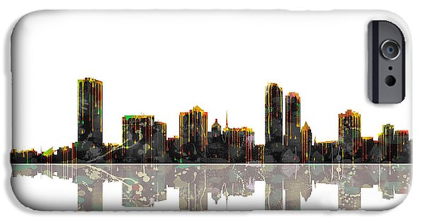 City Scape iPhone Cases - Milwaukee Wisconsin Skyline iPhone Case by Marlene Watson
