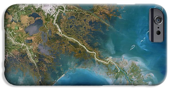 1990s iPhone Cases - Mississippi Delta, Satellite Image iPhone Case by Planetobserver