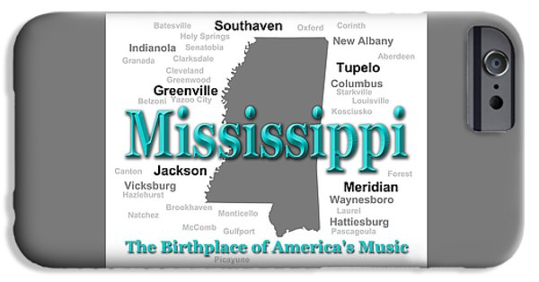 Hattiesburg iPhone Cases - Mississippi State Pride Map Silhouette  iPhone Case by Keith Webber Jr