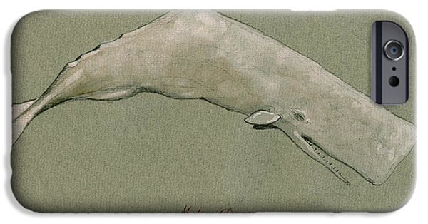 Whale iPhone Cases - Moby dick the White sperm whale  iPhone Case by Juan  Bosco