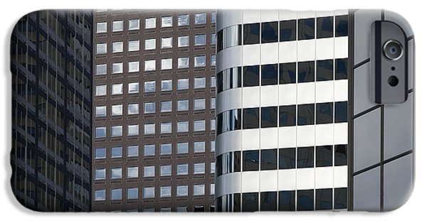 Office Space Photographs iPhone Cases - Modern High Rise Office Buildings iPhone Case by Roberto Westbrook