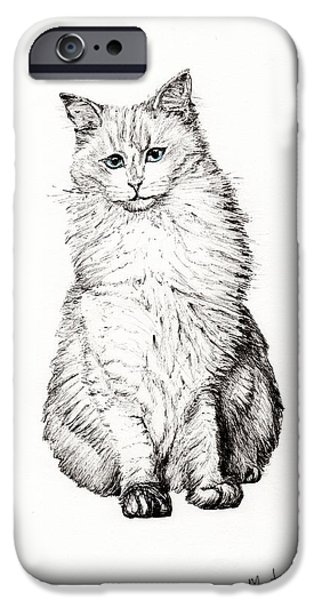 White Cat Art iPhone Cases - Monty iPhone Case by Vincent Alexander Booth