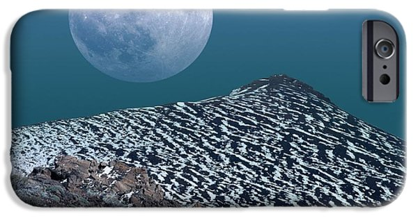 Snowy Night iPhone Cases - Moon-rise Over A Volcano iPhone Case by Detlev van Ravenswaay
