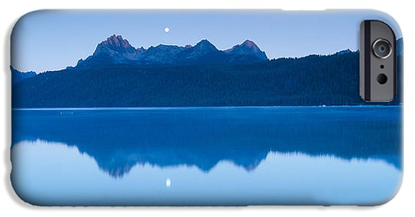 United States iPhone Cases - Moonset At Sunrise Over Redfish Lake iPhone Case by Panoramic Images