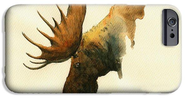 Bull Moose iPhone Cases - Moose iPhone Case by Juan  Bosco