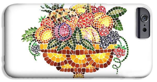 Mosaic iPhone Cases - Mosaic Fruit Vase iPhone Case by Irina Sztukowski