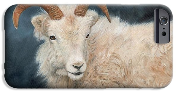 David iPhone Cases - Mountain Goat iPhone Case by David Stribbling