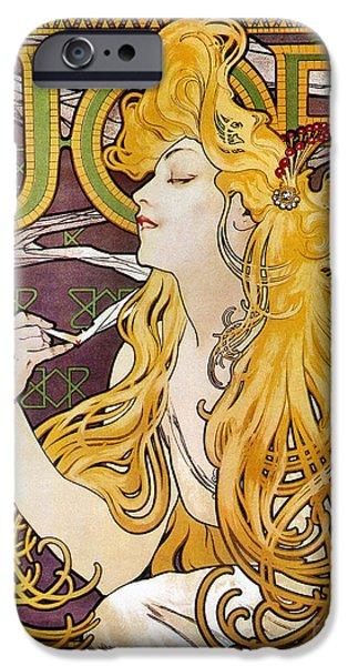 Art Nouveau iPhone Cases - Mucha: Cigarette Papers iPhone Case by Granger