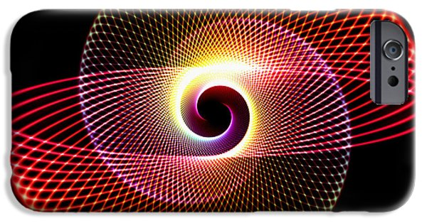 Abstract Digital Photographs iPhone Cases - Multicolor Spirals iPhone Case by John Bailey