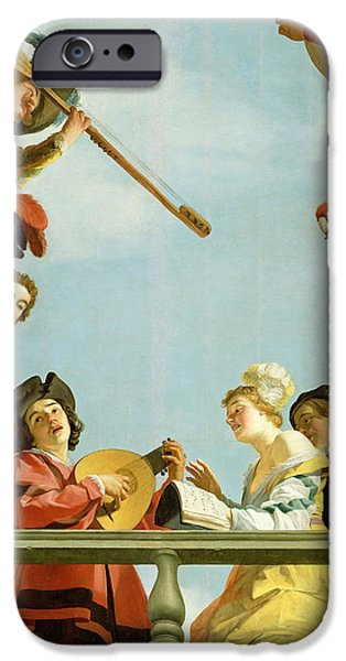 Balcony iPhone Cases - Musical Group on a Balcony iPhone Case by Gerrit van Honthorst