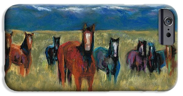 Mountain Pastels iPhone Cases - Mustangs in Southern Colorado iPhone Case by Frances Marino