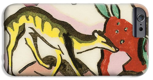 Abstract Expressionist Drawings iPhone Cases - Mythical animal iPhone Case by Franz Marc