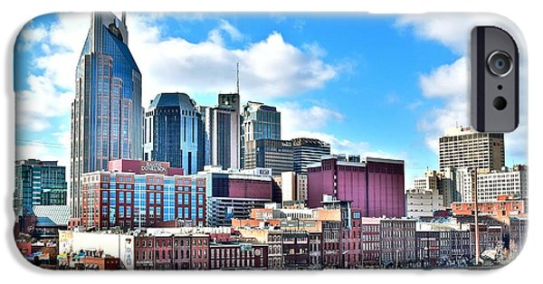 Nashville Skyline iPhone Cases - Nashville from Above iPhone Case by Frozen in Time Fine Art Photography