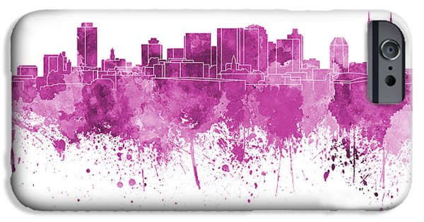 Nashville Tennessee Paintings iPhone Cases - Nashville skyline in pink watercolor on white background iPhone Case by Pablo Romero