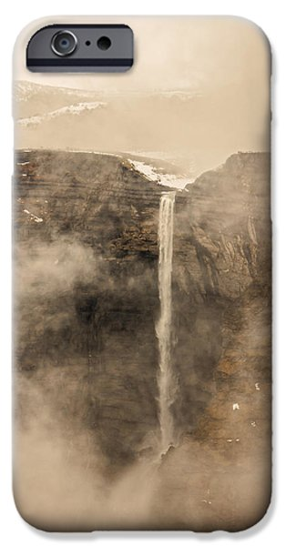 Fog Mist iPhone Cases - Nervion river source and waterfall iPhone Case by Mikel Martinez de Osaba