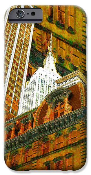 Modern Abstract iPhone Cases - New York City Up Is Down Down Is Up Gold iPhone Case by Tony Rubino