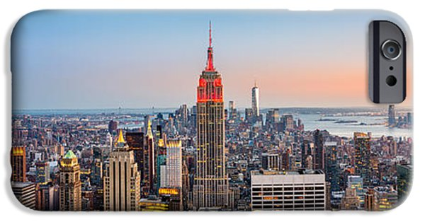 Empire State iPhone Cases - New York skyline panorama iPhone Case by Mihai Andritoiu