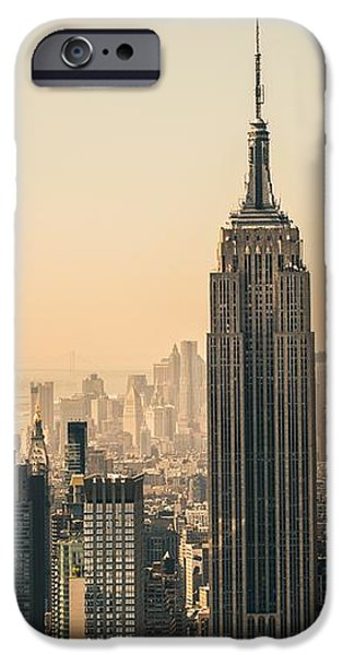 Empire State iPhone Cases - New York skyline to Midtown and Lower Manhattan iPhone Case by Leonardo Patrizi