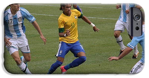 Clash Of Worlds iPhone Cases - Neymar Doing His Thing II iPhone Case by Lee Dos Santos
